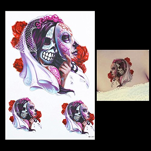 Day Of The Dead Pin Up Costume (Day of the dead dia de los muertos sugar skull temporary tattoo cosplay anime body art metallic flash body art kawaii fake tattoo body stickers)