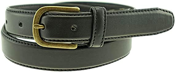 Strait City Trading Co Boys 1-1//8 English Bridle Leather Belt with Gray Buckle