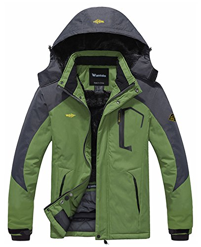 Wantdo Men's Waterproof Mountain Jacket Fleece Windproof Ski Jacket US L  Grass Green L - Skinny Snowboard Pants Men