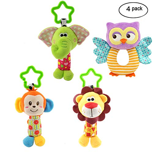 (MKONY Baby Crib Hanging Toys, Infant Stroller Car Seat Bed Toys,Newborn Activity Development Toy, Babies Unique Travel Hanging Rattle Plush Toys (4)