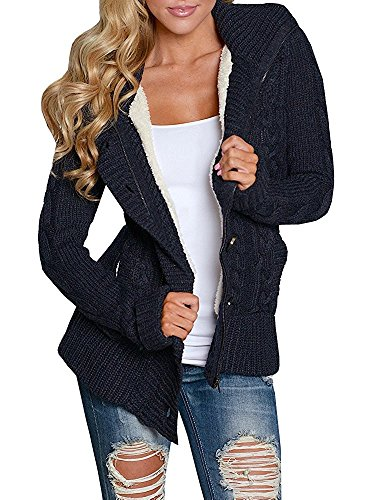 Enjoybuy Black Womens Cable Knit Hooded Sweater Cardigan Buttons Open Front Outerwear - Open Cable Sweater Cardigan