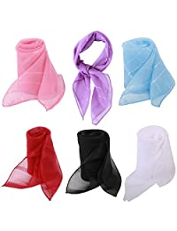 kilofly 6pc Women's Chiffon Pocket Square Neckerchief Handkerchief Purse Scarves