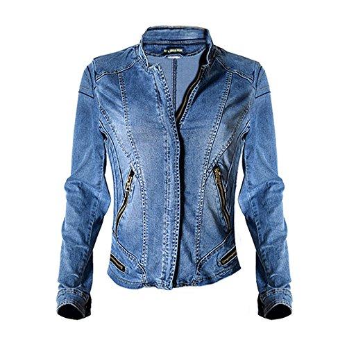 (Dreamskull Womens Stand Collar Moto Stretch Denim Jean Jacket)