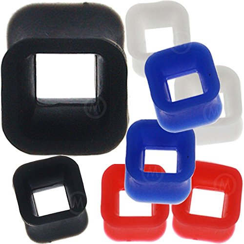 0 gauges 0g ear plugs silicone flesh tunnels double flare expander stretcher taper MoDTanOiz 0g 8mm - Square Tunnel
