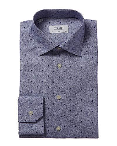 Eton Mens Contemporary Fit Micro Print Dress Shirt Blue 17