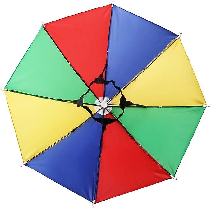 Foldable Fishing Umbrella Hat Colorful Sun-rain Umbrella Hat for Outdoor Activities kuou 3 pcs Umbrella Hat with Elastic Band