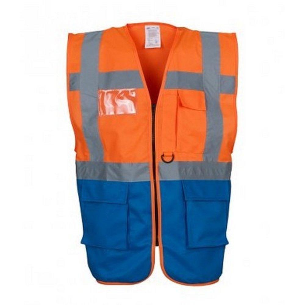 18 Colours Coloured Hi Vis Executive Vest High Viz Vests Zip with Pockets 3XL, Red//Yellow