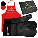 Mandarinne Silicone Oven Mitts and Apron Set - Heat Resistant Grill Mitts - Extra-Long Professional Heat-Resistant Mitts - Quilted Cotton Lining - High Durability - Black Oven Gloves + Red Apron
