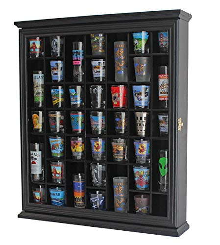 41 Shot Glass Display Case Holder Cabinet Wall Rack with Glass Door (Black Finish) - Hinged Door Clear Front