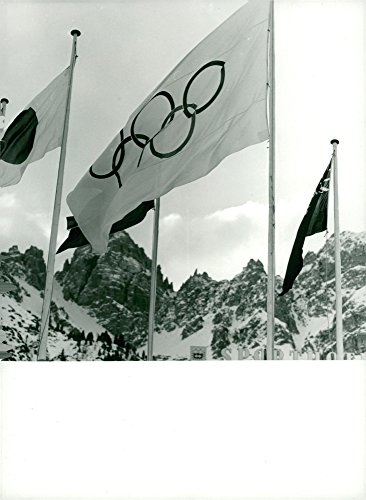 Vintage photo of Olympic Flag at Lizum: 1976 Winter Games