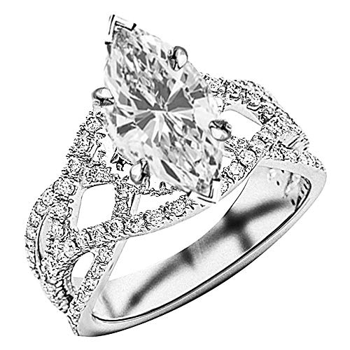 1.37 Ctw Platinum Eternity Love Intertwine Twisting Split Shank Pave-set Round GIA Certified Diamond Engagement Ring Marquise Shape (0.62 Ct D Color VS1 Clarity Center Stone)