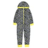 ONEZEE Kids Girls Leopard Print Animal Jumpsuit - Sleepsuit Pyjamas with Hood