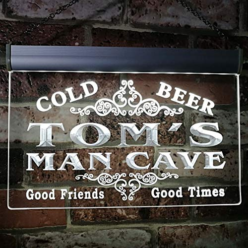 Tom's Man Cave Beer Ale Bar Custom Personalized Name Neon Sign White 16x12 inches st4s43-x0154-tm-w