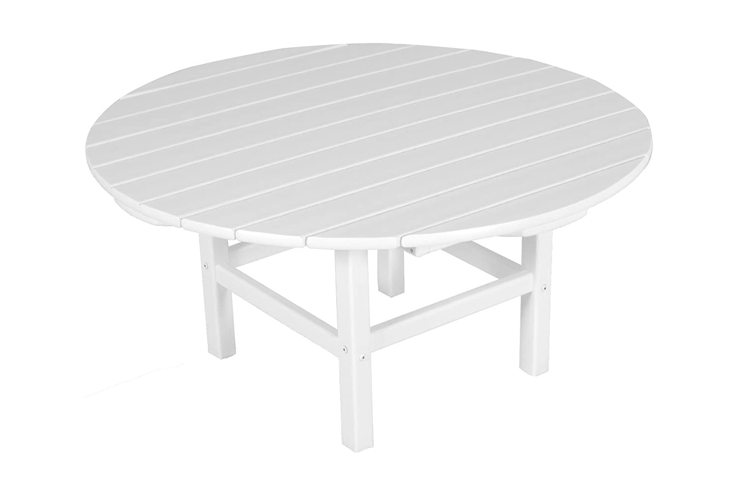 Amazoncom POLYWOOD RCTWH Round Conversation Table White - Polywood coffee table