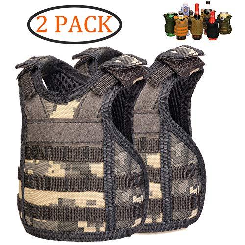 (DSMY 2 pcs Bottle Vest Tactical Beverage Cooler Military Beer Mini Molle Vest Hunting Bottle Drink Adjustable Shoulder Straps)