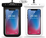 Universal Waterproof Case Sevenpicks phone Dry Bag Pouch IPX8 Waterproof for iPhoneX/8/8plus/7/7plus/6S/6, SamsungS9/S8/Note8 Google HTC LG Sony up to 6.0''(Black+White)