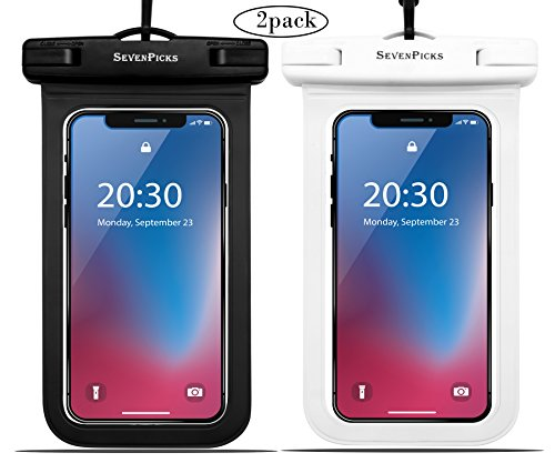 Universal Waterproof Case Sevenpicks phone Dry Bag Pouch IPX8 Waterproof for iPhoneX/8/8plus/7/7plus/6S/6, SamsungS9/S8/Note8 Google HTC LG Sony up to 6.0''(Black+White) by Sevenpicks