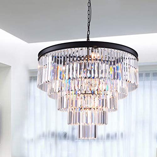 Luxury Modern Crystal Chandelier 12 Lights Pendant Ceiling Light for Dining Room, Living Room (12 Lights) (Best Ceiling Lights For Dining Room)