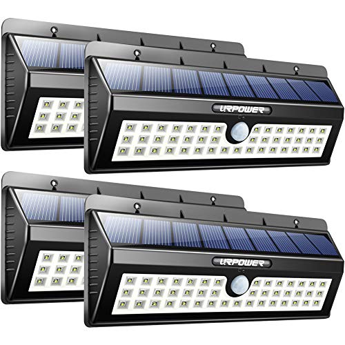 URPOWER Solar Lights, 44 LED Waterproof Motion Sensor Lights Outdoor Wireless Solar Powered Wall Light Motion Activated Auto On|Off Solar Security Lights Outdoor for Patio Deck Yard Cool White 4 Pack