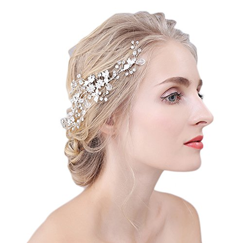 M Bridal Women's Vintage Crystal Leaves Bride Hair Comb Wedding Accessory O909