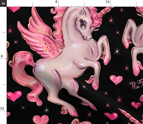 Spoonflower Unicorns Fabric - Unicorn Pegasus- On Black Large Pegasus Pink Magical Art Design Fantasy Print on Fabric by The Yard - Chiffon for Sewing Fashion Apparel Dresses Home Decor