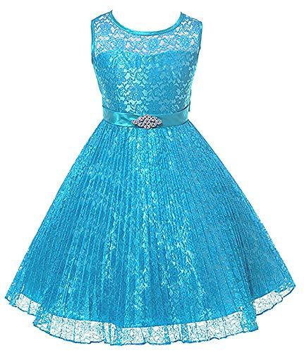 Olivia KOO Girl's Lovely Lace Satin Sash Rhinestone Brooch Flower Girl Dress