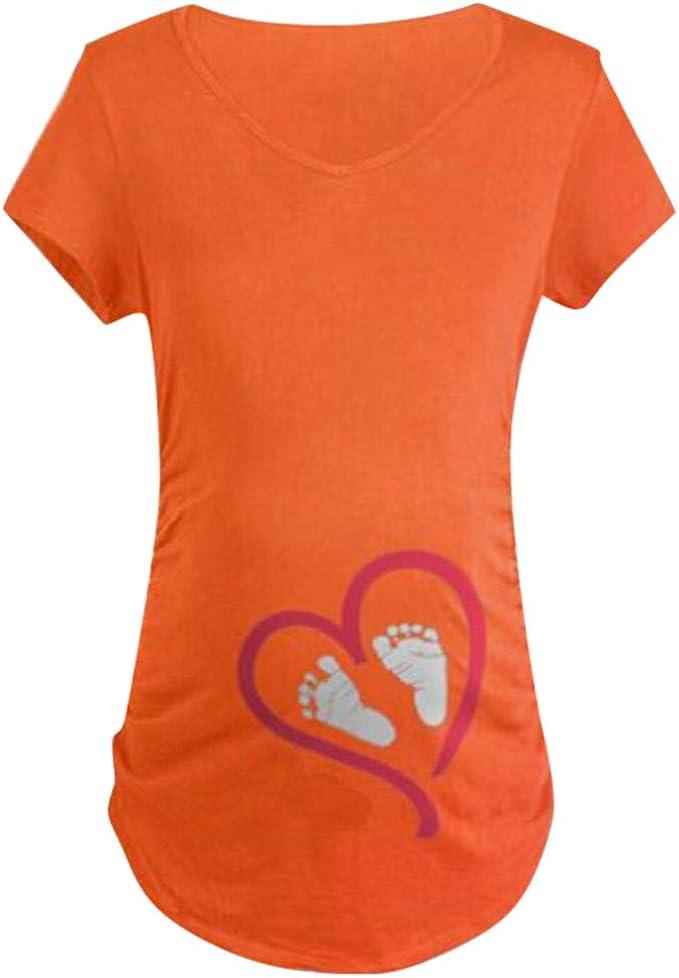Mambain Maglietta Premaman con Piedini T Shirt Eleganti Divertenti Manica Corta Stampa del Fumetto Cuore Casual Top Maglia Camicetta