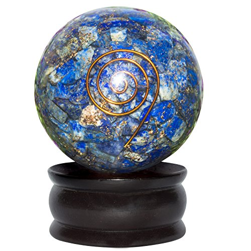 - FASHIONZAADI Lapis Lazuli Orgone Stone Crystal Sphere Gemstone Ball with Copper Spiral for Chakra Balancing Energy Meditation EMF Protection Reiki Healing Size 50-55 mm