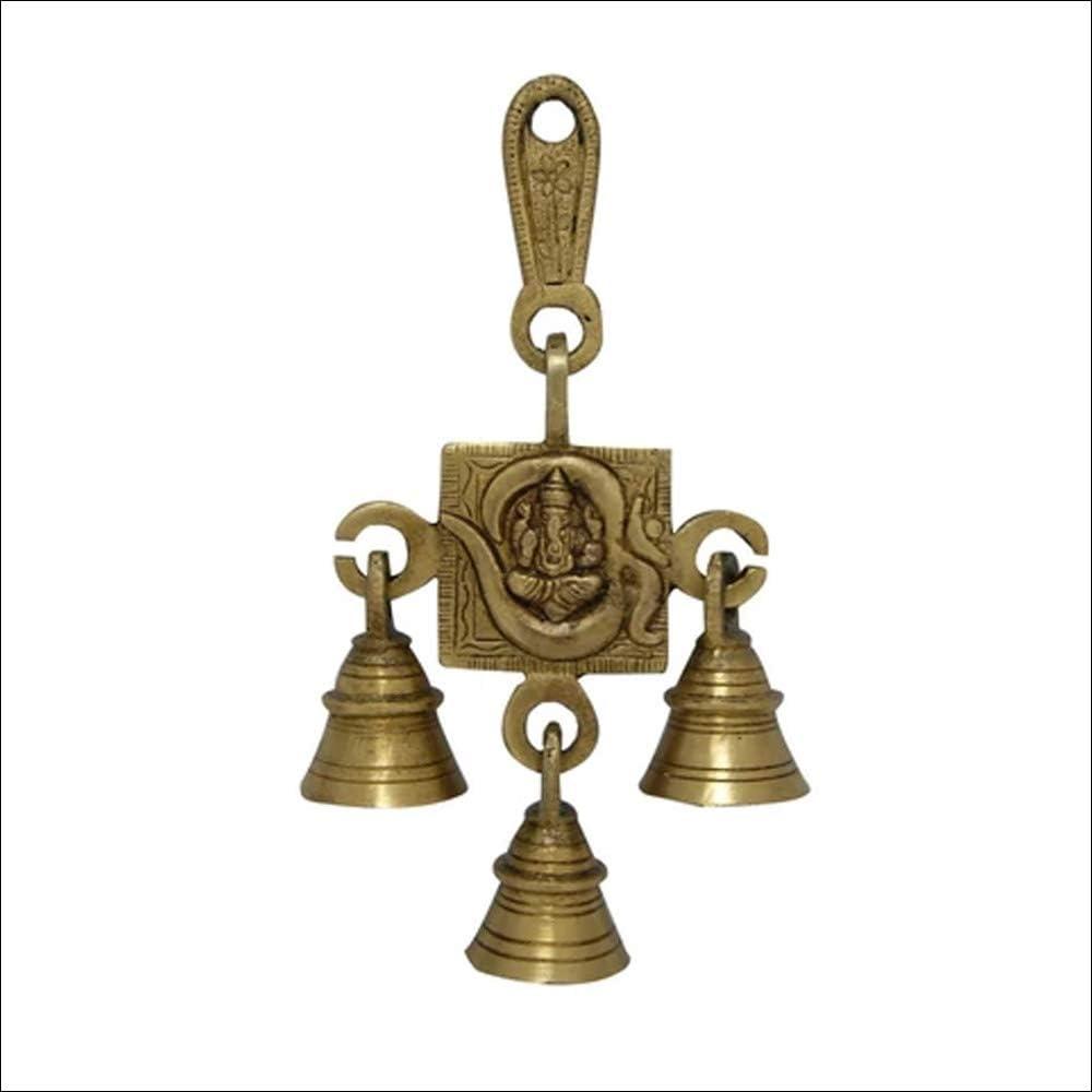 Divya Mantra Hindu Lucky Auspicious Symbol Vastu Om Ganesha 3 Bells Pure Brass Buri Nazar Battu Decor Gift Accessories/Good Luck Charm Interior Home/Office/Door/Wall Hanging Toran Bandanwar Showpiece
