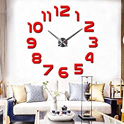 FASHION in THE CITY 3D DIY Mirror Surface Wall Clock Large Size Wall Decorative Clocks Silent Non Ticking Movement Clock Hands (Red)