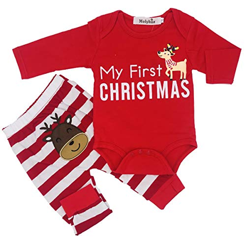 Kids Pajamas Set Cotton,Girls Boys PJS Set Long Sleeve T-Shirt with Pants Set(Red,90(6-12Month))