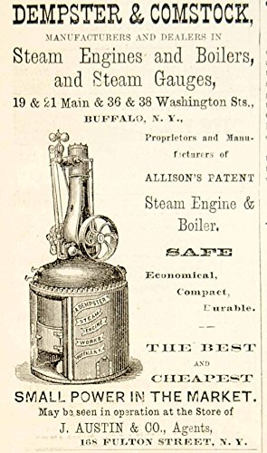 1875 Ad Antique Dempster & Comstock Steam Engines Boilers Machinery Buffalo NY - Original Print Ad