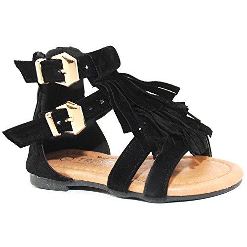 Baby Toddler Girls and Little Girls Strappy Buckled Fringe Gladiator Flat Sandals