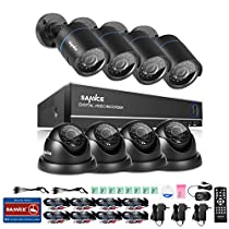 SANNCE 8 Channel 1080N Integrated Battery Backup (UPS) DVR CCTV Security System and (8) 1.0MP Weatherproof Surveillance Camera with Night Vision and Remote View - NO HDD