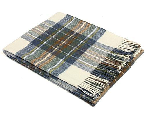 Bronte Throw Blanket - Tartan Throw - Merino Lambswool (Muted Blue Stewart) - Tartan Lambswool Throw