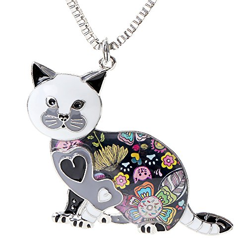 Valentine's Day Gifts Cute Cat Necklace Enamel Cartoon Cats Pendant Jewelry for Women Friends (Next Day Valentines Gifts)