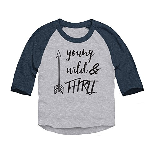 Trunk Candy Young, Wild & Three Toddler 3/4 Sleeve Raglan Baseball T-Shirt (Heather/Navy, 4T)