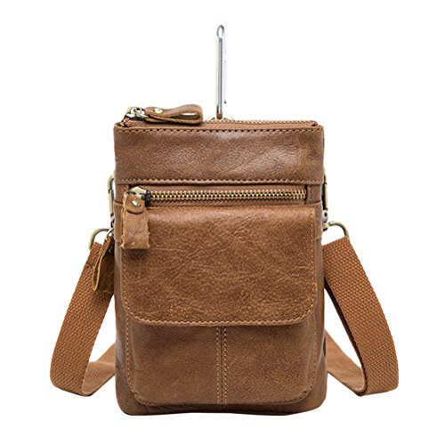 Zhhlaixing Mens Womens De las mujeres Slim Mini Zipper Cross Body Backpack Shoulder Cycling Bag Waist Bag Christmas Halloween Brown