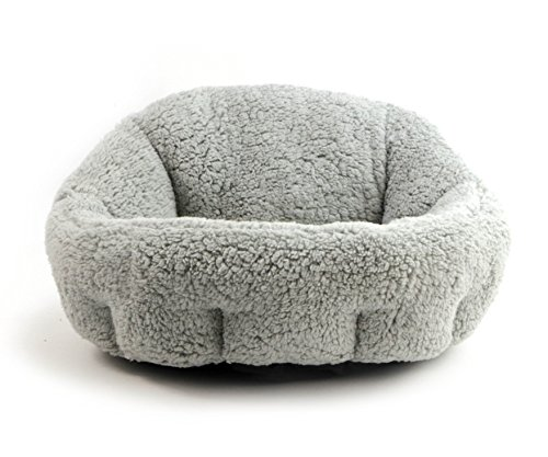 Rosey Form Cozy Joint- Relief Cat and Dog Pet Bed Cushion Three Size and Multi Color Available (White-Gray, (Self Warm Cat Cushion)