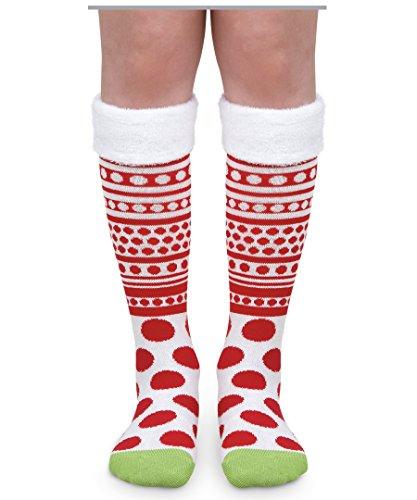 Jefferies Socks Girls Halloween Red White Dot Stripe Fuzzy Cuff Costume Knee High Socks 1 Pair (Small) (Red And White Polka Dot Christmas Stockings)