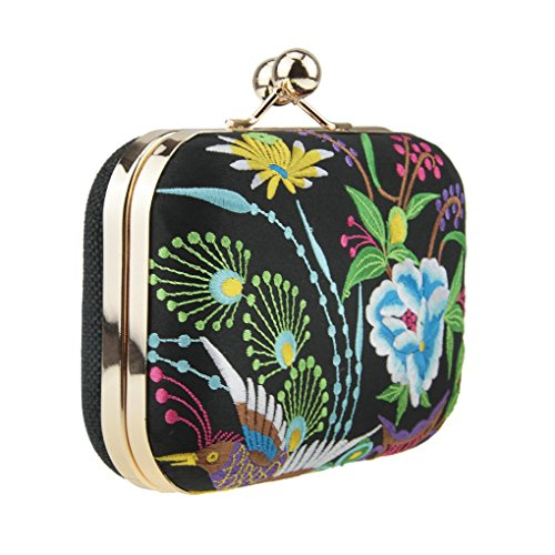 Bags Style Wedding Embroidery Ethnic Elegant Retro Clutch Hand Evening Floral Bag 3 Fakeface Women's FqnHXfTS