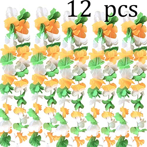 (ZSNICE 12pcs Irish St. Patrick's Day Party Parade Artificial Flowers Necklace Neck Loop, Green White and Orange Garlands Lei, Party Favors Supplies Accessory)