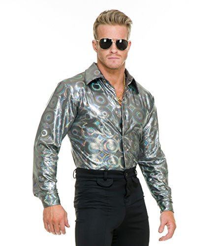 Silver Mens Costumes - Charades Men's Silver Hologram Costume Disco