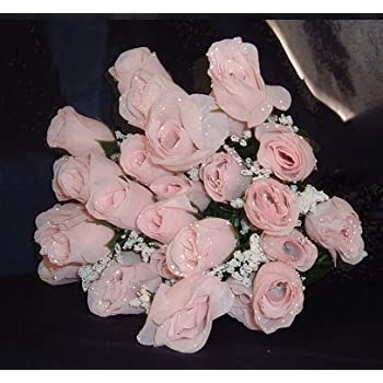 Amazon Com Igc 84 Pale Pink Silk Rose Flowers W Raindrops Wedding