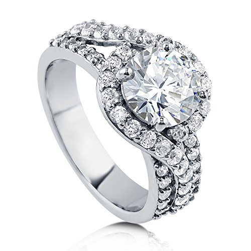BERRICLE Rhodium Plated Sterling Silver Round Cubic Zirconia CZ Halo Engagement Ring 2.92 CTW Size 4 ()