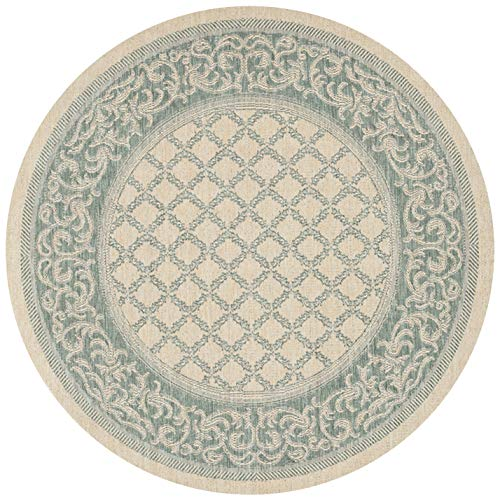 Couristan 1016/5016 Recife Garden Lattice Natural/Green Rug, 7-Feet 6-Inch Round