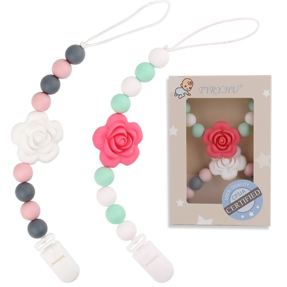 TYRY.HU Pacifier Clips Silicone Teething Beads BPA Free Binky Holder for Girls, Boys, Baby Shower Gift, Teether Toys, Soothie, Mam, Drool Bibs, Set of 2 (Pink, White Roses) by TYRY.HU