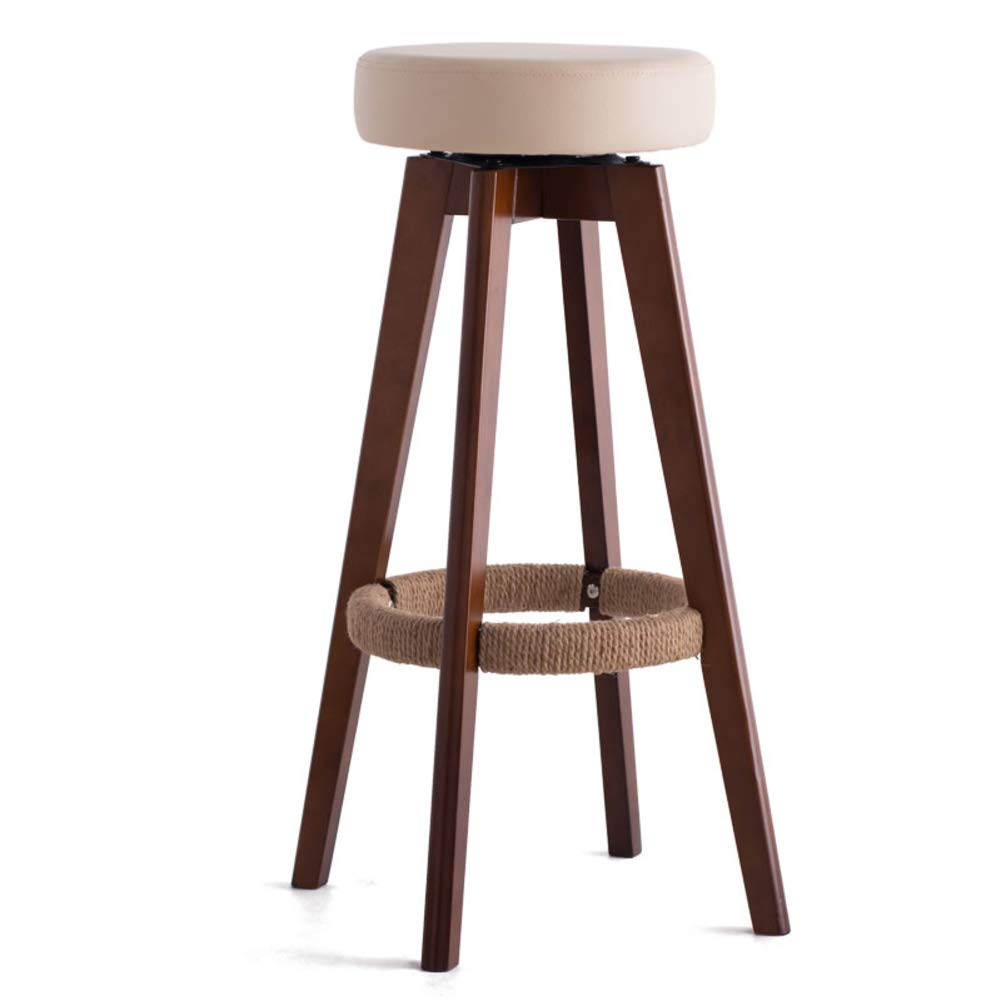 BeigeA Solid Wood Barstools, 360 Degree Swivel Handmade Pub Chair Filled Cotton Counter Bar Stool Chair for Bar Home-Beige