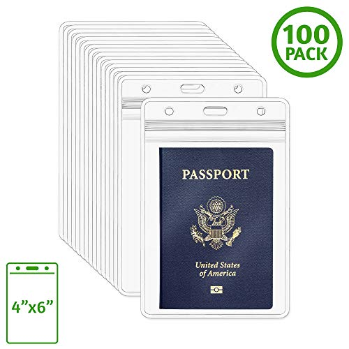 Lanyard Conference - 	 EcoEarth Passport Holder, Extra Large Vertical ID Holder, Resealable and Waterproof Identification Card Holder (Clear, 4x6 Inch, 100 Pack)