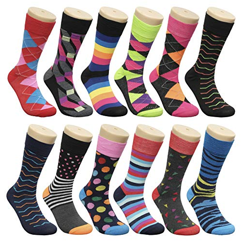 Groovy Socks Men's Fun & Funky Colorful Fashion Patterned Dress Socks - 12 Pack (10-13 / Shoe: 6-12, Assorted 11) -